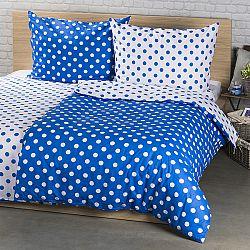 4Home Bavlnené obliečky Modrá bodka, 140 x 200 cm, 70 x 90 cm, 140 x 200 cm, 70 x 90 cm
