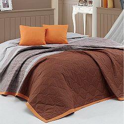 BedTex Prehoz na posteľ Spencer hnedá, 220 x 240 cm, 2x 40 x 40 cm
