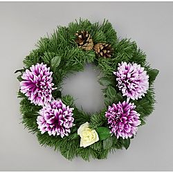 Dušičkový veniec s chryzantémami 30 cm, fialová
