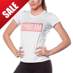 GymBeam Dámske tričko Box Logo Light White Pink XS