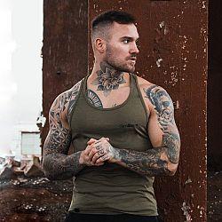 GymBeam Tielko Stringer Tank Top Heather Olive Green  L