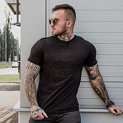 GymBeam Tričko Stay Dedicated Black Emboss S