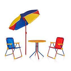 HAPPY GREEN Detský záhradný set TIMMY, 2 stoličky, stolík a slnečník