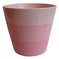 Keramický obal na kvetináč Stripes ružová, pr. 13,5 cm