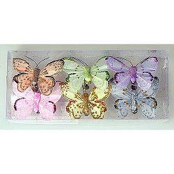Sada motýľov na klipe 7 cm, 6 ks