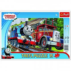 Trefl Puzzle Mašinka Tomáš a hasič Flynn, 15 dielikov
