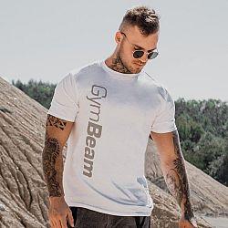 Tričko Vertical White - GymBeam XL