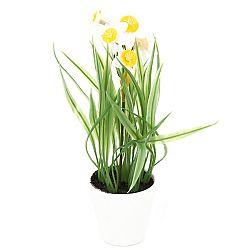 Umelá kvetina Narcis v kvetináči biela, 22 cm