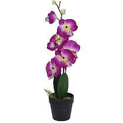 Umelá orchidea v kvetináči ružová, 47 cm
