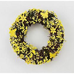 Umelý veniec Yellow Flowers, pr. 24 cm
