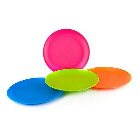 4-dielna sada plytkých plastových tanierov,