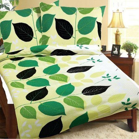 Bellatex Obliečky krep Zelené listy, 140 x 200 cm, 70 x 90 cm