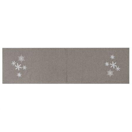 BO-MA Trading Vianočný behúň Vločky sivá, 40 x 140 cm