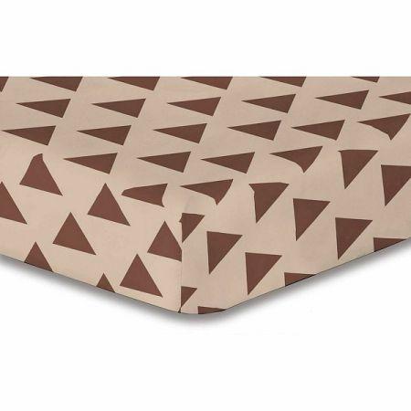 DecoKing Prestieradlo Triangles hnedá S1, 180 x 200 cm