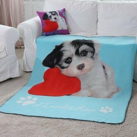 Domarex Deka Puppy Love Dog tyrkysová, 130 x 160 cm