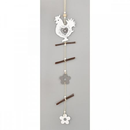 Drevená závesná dekorácia Kohút, 50 cm