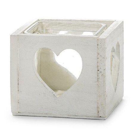 Drevený svietnik srdce biela, Dakls