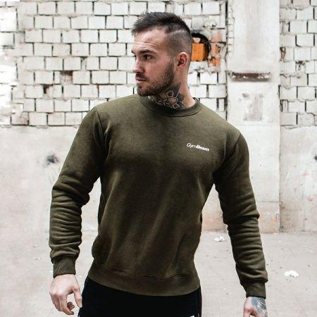 GymBeam Mikina Basic Military Green White grey S