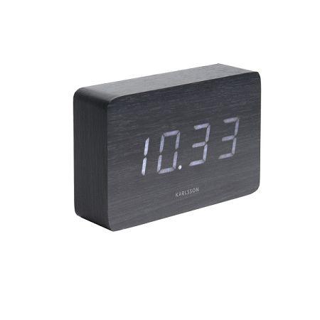 Karlsson 5653BK Dizajnové stolné hodiny s budíkom, 15 x 10 cm