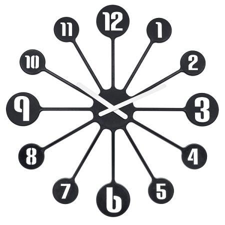 Koziol Nástenné hodiny Pinball čierna, pr. 45 cm