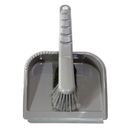 Metlička a lopatka TRENDY s gumovou lištou, sivá