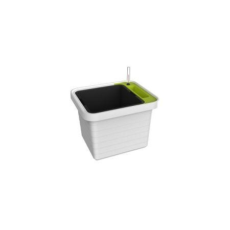 Plastia Samozavlažovací truhlík Berberis UNO, biela + zelený priečnik